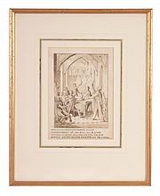 George Cattermole (1800-1868) - An original illustration, depicting revellers in a medieval interior