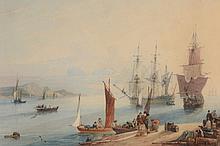 Samuel Owen (1768-1857) - Fisherman in a harbour at sunset, unloading barrels
