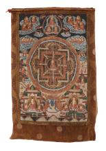 A Tibetan Thangka, late 19th or 20th century, the image 74cm by 52cm