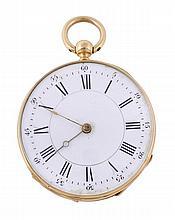 An 18 carat gold open face pocket watch, circa