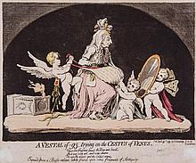 Gillray (James) - A Vestal of -93, trying on the Cestus of Venus,