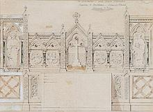 Street (George Edmund) Attributed to. - Original design for a Gothic reredos,