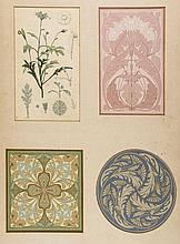 English School (late 19th century) - 3 sets of studies in art nouveau botanical ornament,