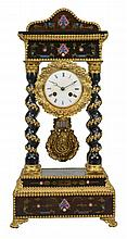 A French gilt brass mounted and inlaid ebonised portico mantel clock