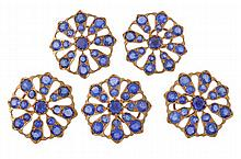 A set of five sapphire cluster buttons, the