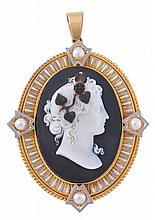 A mid Victorian gold and enamel hardstone cameo