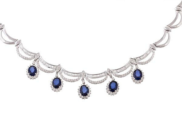 A sapphire and diamond fringe necklace, the swag