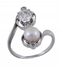 A diamond and bouton pearl crossover dress ring,