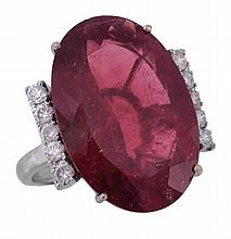 An 18 carat gold pink tourmaline and diamond ring,