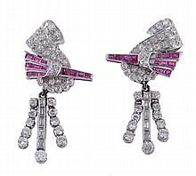 A pair of diamond and ruby ear pendents, the
