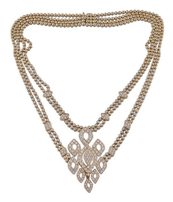 A diamond necklace, the central pave set diamond