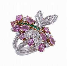A diamond, emerald and pink sapphire dragonfly