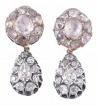A pair of 19th century diamond ear clips, the pear