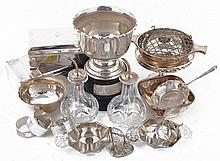 A collection of silver and silver mounted items, including