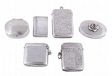 Three silver vesta cases and three boxes, the vestas
