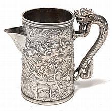 A Chinese export silver tankard adapted as a jug by Leeching , stamped 'LC