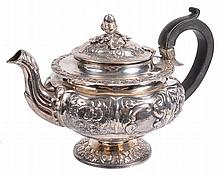 A George IV silver compressed spherical pedestal small tea pot, maker