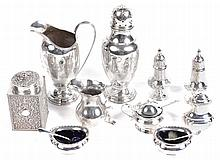 A collection of silver, to include: a Victorian silver rectangular canister