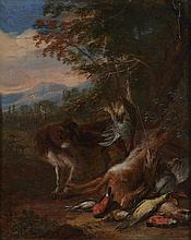 Adriaen de Gryef (1670-1715) - A hunting still life with a spaniel watching a bag of hare and songbirds, with a landscape beyond