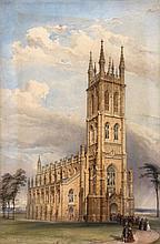 English School (19th Century) - Parish church with the congregation departing,