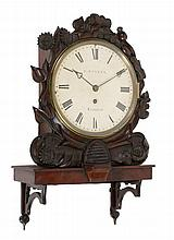 An unusual Victorian carved mahogany fusee dial wall timepiece with eight...