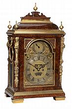 A fine and rare George II gilt brass mounted burr walnut table clock Robert...