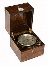 A brass mounted rosewood cased two-day marine chronometer Thomas Roberts