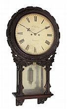 An unusual Victorian carved walnut striking drop-dial wall clock Samuel Bailey