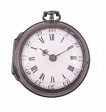 A silver cased verge pocket watch Signed for Edward Burgess