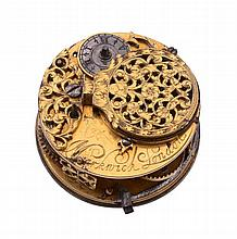 A gilt brass verge pocket watch movement Signed for Markwick