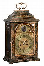 A Queen Anne green japanned table clock with pull-quarter repeat on six...