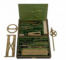 A fine George II cased set of mathematical drawing instruments Thomas Heath