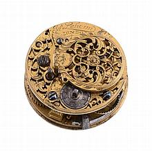 A verge pocket watch movement with champleve dial James Lehcim, London