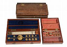 Two mahogany cased Sikes' Hydrometers Dring and Fage, London, and T. O