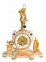A French alabaster and gilt metal novelty mantel clock with conical pendulum...