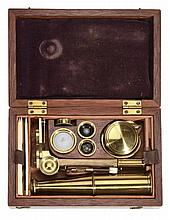 A Cary/Gould-type lacquered brass portable compound microscope Unsigned