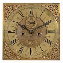 A Queen Anne eight-day longcase clock movement and dial Thomas Bell, London