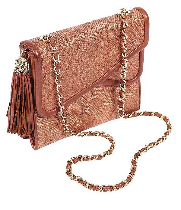 Chanel, a quilted woven cinnamon straw and calf