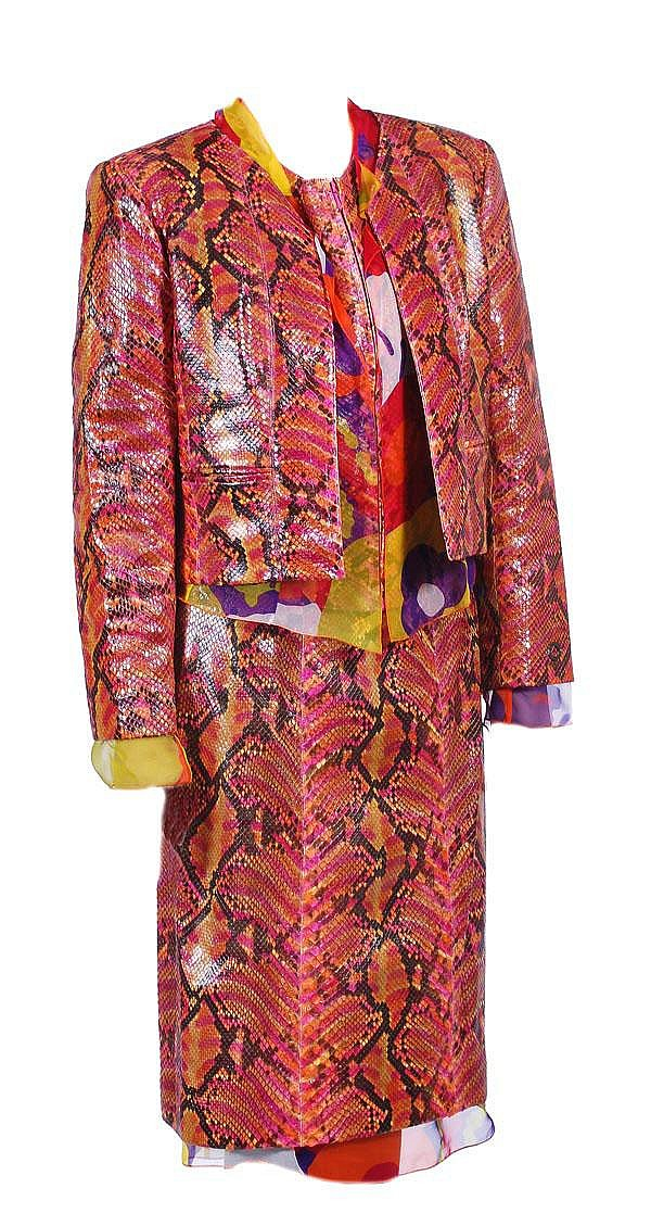 Chanel, a multicolour python skin and silk chiffon