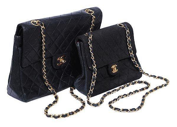 Chanel, a medium quilted black leather double