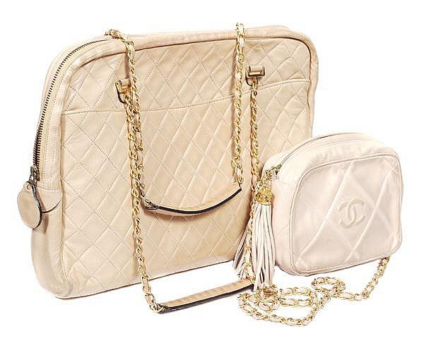 Chanel, a quilted cream leather clutch shape