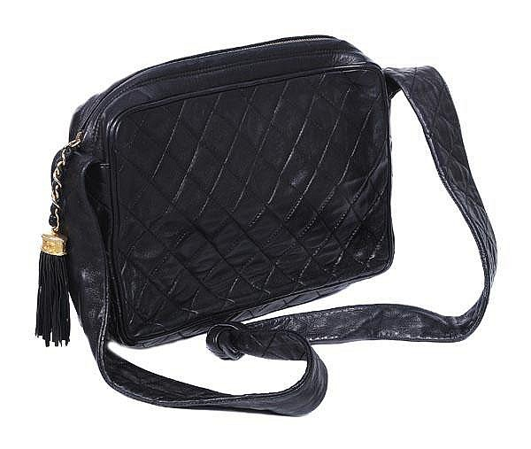 Chanel, a medium quilted black leather clutch