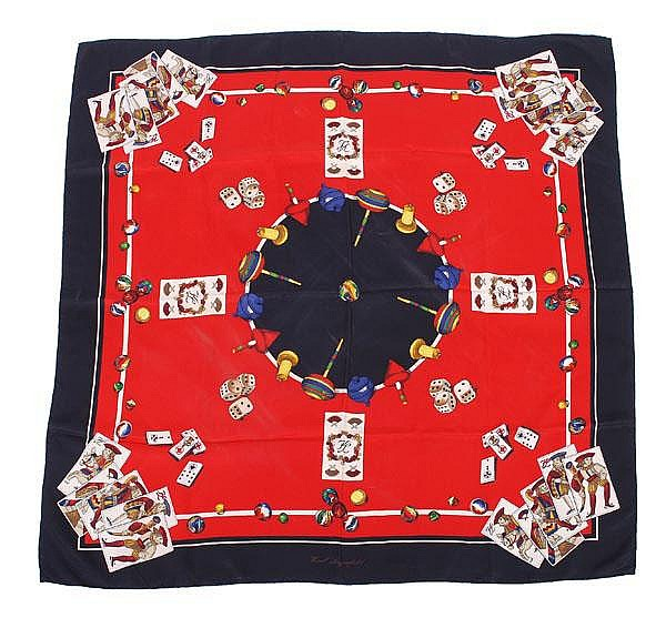 Karl Lagerfeld, a silk scarf, of various gaming