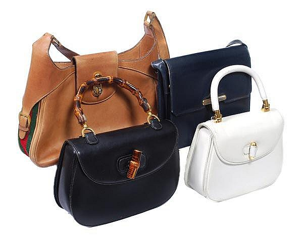 Gucci, four assorted handbags, comprising: a white