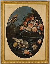 Dutch School (19th Century) - Still lifes of birds, vases of flowers, baskets of fruit, butterflies and caterpillers