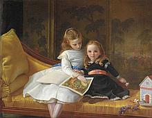 Circle of James Hayllar (1829-1920) - Portrait of The Coleridge Daughters, Audrey Jane and Phyllis