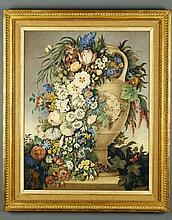 Dutch School (19th Century) - A classical vase, shown with a swag of flowers