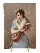 A Berlin porcelain plaque painted with a girl with a mandolin in a snow-storm