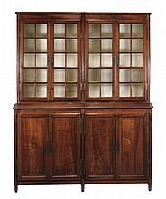 A French solid walnut and glazed display cabinet, first half 19th century