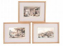 A group of five framed English prints of Chinese subjects each c.13.5cm x 20cm